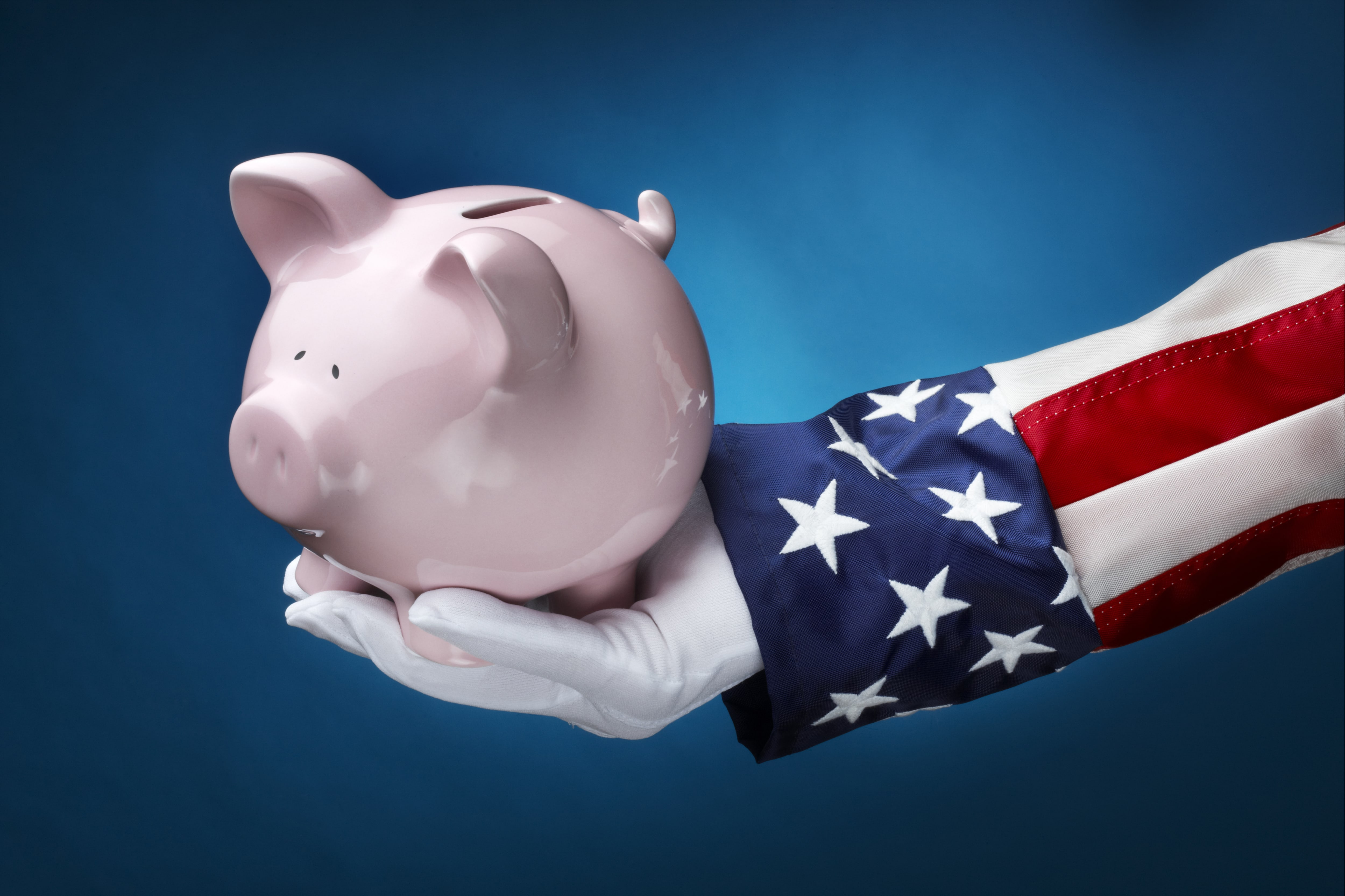 Uncle Sam Federal spending Piggy bank