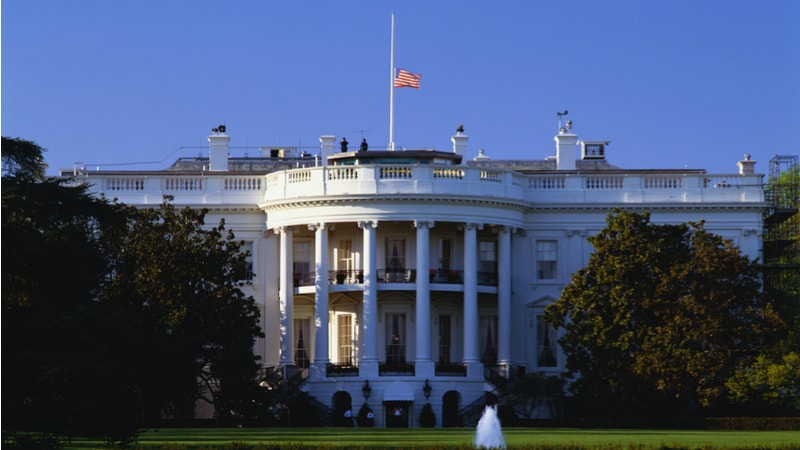 White House flag at half mast
